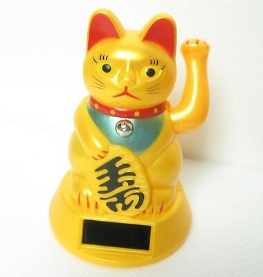 Solar Powered Maneki Neko Golden Beckoning Kitty Wealth Cat Toy Feng Shui  4.5""