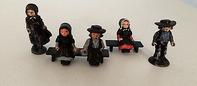 Lot Of 5 Vintage cast iron AMISH figurines Collectibles PENN DUTCH