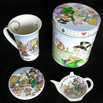 Paul Cardew Alice In Wonderland Tea Party Set includung Tin Cup Coaster Bag Rest