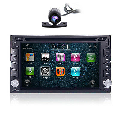 """2 Din 6.2"""" GPS Navigation Car DVD Player In-Dash Stereo Bluetooth iPod +Camera"""