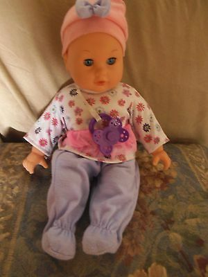 sweet little baby doll with pacifier eyes open and shut aprox  13'' tall
