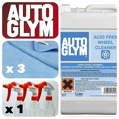 Autoglym 5L Acid Free Alloy Wheel Cleaner + Trigger Bottle + 3 Cleaning Cloths