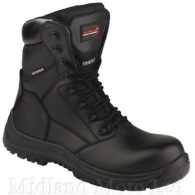 Waterproof Non Metal Toe Cap Leather S3 Safety Boots. Motorcycle, detecting Work