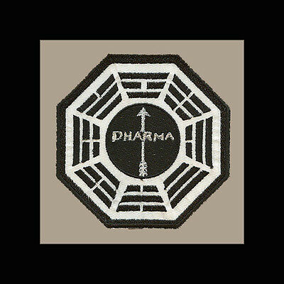 """LOST Dharma Initiative Embroidered patch """"Arrow"""" (Black Background)"""