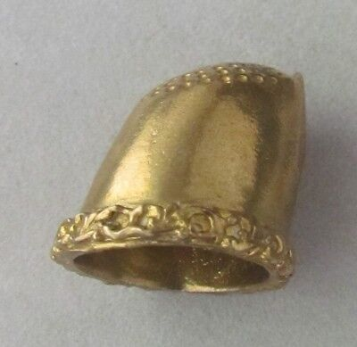"Solid Brass Sewing Thumb Thimble,Protection,Unique Design,Fits All,h1 1/4"",d6/8"""