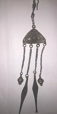 Antique Chinese Export Solid Silver Opium Snuff Chatelaine Set 4 Attachments HM