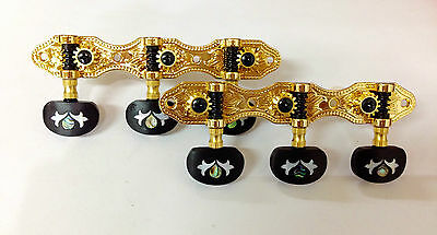 Gold Surface Classical Guitar tuner with ebony inlay buttons 405G-E2IN
