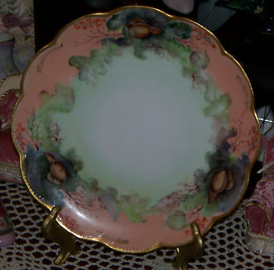 """Antique Haviland Limoges France 81/2"""" Plate with Shells Scalloped Gold Edge old"""