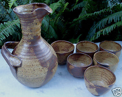 MICHAEL TAYLOR Australian Pottery CARAFE JUG & 6 CUPS Set VG - In Australia~!