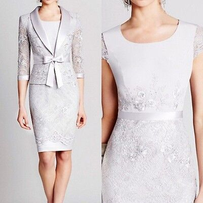 Silver Knee Length Mother Of The Bride Outfit With Jacket Wedding Formal Dresses
