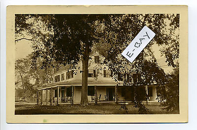 PM Mansfield MA Mass RPPC real photo, inn?, note sign, rocking chairs porch,1924