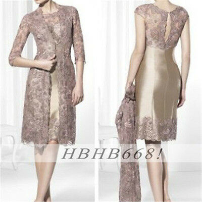 Mother Of The Bride Outfits With Lace Long Jacket Women Wedding Formal Dresses