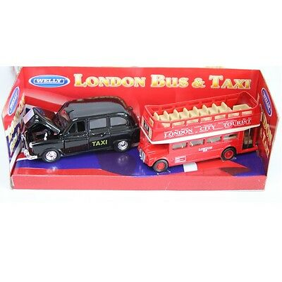 WELLY Lodon Bus & Taxi Die-cast Metal Miniature Pull Back & Go Action