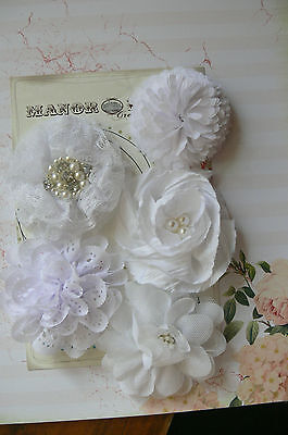 PURE WHITE Fabric Organza Lace 5 Flower Pack approx 6-7cm across Manor House