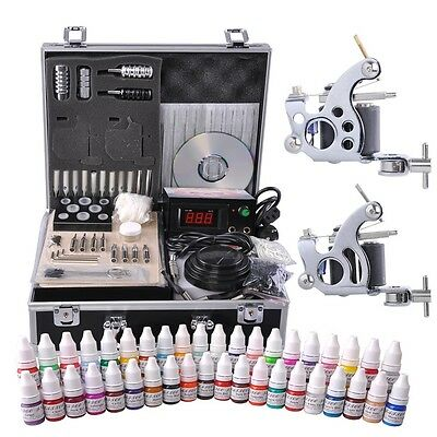 Pro Complete Tattoo Kit 40 Color Ink 2 Machine Guns 50 Needles Set Power Supply