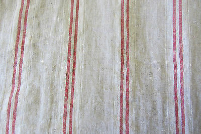 French Vintage Linen Stripe Red Curtain/Craft / upholstery Fabric