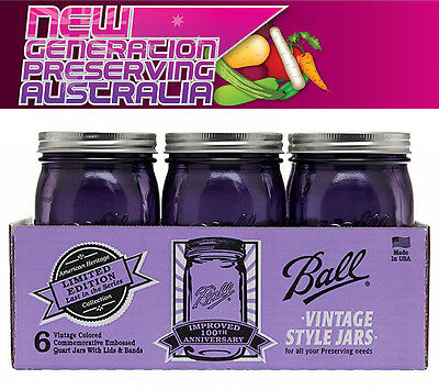12  x Ball Mason Heritage Collection Quart Purple Wide Mouth jars and Lids