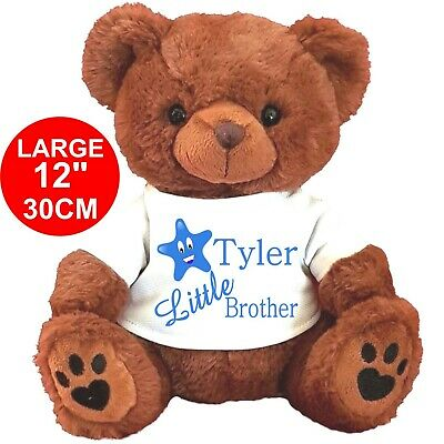 "Personalised Brown Teddy Bear 30Cm/12"" Little Brother  Birthday Gifts"