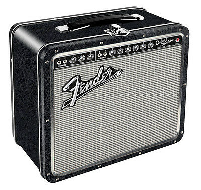 Fender Black Tolex Metal Lunch Box (Tin) - Toy Piano and Violin -