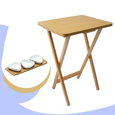 WOOD Folding SNACK TABLE Veneer Top & 3 White Porcelain SNACK BOWLS Bamboo Tray