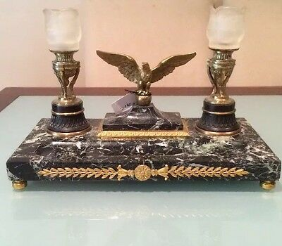 Antique Vintage 19C Gilt Bronze Mouted Marble Base Pen Tray Eagle Candelabra