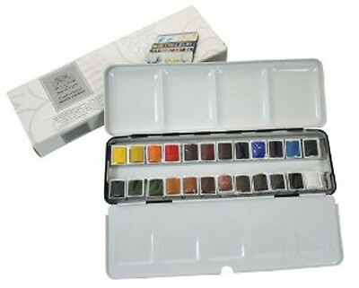 Winsor & Newton Artists Professional Quality Watercolour 24 Half Pan Metal Box