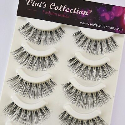 Vivi's Collection 5 Pairs Premium False Eye Lashes Long/Natural Fake Eyelashes