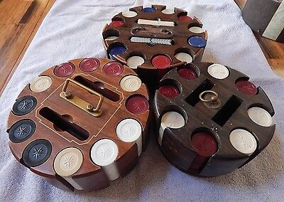 Antique Clay Poker Chip Set Wood Carousel Turns Composite Lot NICE