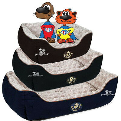 Scruffs Wilton Pet Dog Cat Box Luxury Bed All Sizes Black Blue Brown
