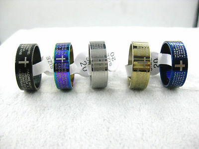10pcs Spanish Lord's prayer Stainless Steel Rings Wholesale Fashion Jewelry Lot