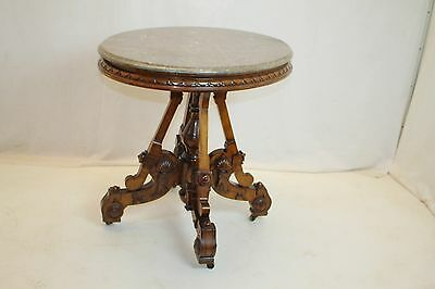 Victorian Eastlake Renaissance Revival Marble Top Table with Carved Walnut Base