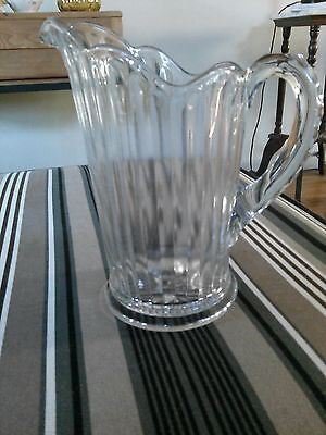 Antique1900-1940 Clear Glass Pitcher Paneled   Diomond design on handle