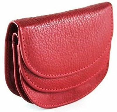Quality Full Grain Cow Hide Leather Coin Purse. Col: Black or Red. Style: 11058.