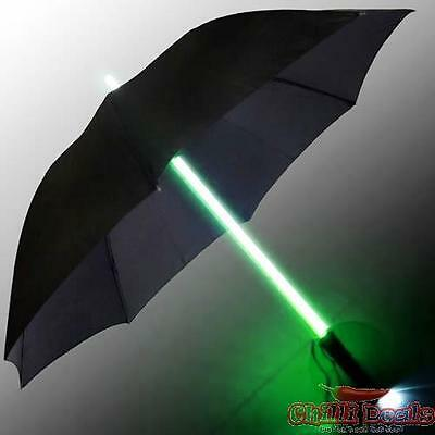 Green Lightsaber Light Up Umbrella & Bright Led Torch Starwars Style Great Gift