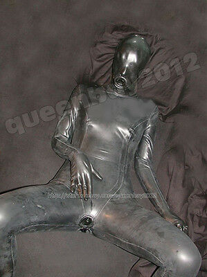 100% Latex Rubber Gummi 0.45mm Catsuit Suit Zentai Gloves Mask Costume Black New