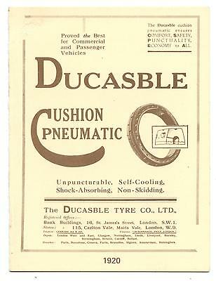 Flyer.tract Publicitaire.ducasble Cushion Pneumatic Tyres On The Road.1920.