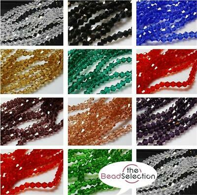 TINY FACETED CRYSTAL GLASS BICONE BEADS  3mm x 2mm COLOUR CHOICE