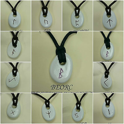 Rune stone Pendant/ Mystic signs/ Necklace/ Cord necklace/ made in Britain