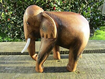Fair Trade Hand Carved Made Wooden Wood Indonesian Animal Wild Elephant Statue