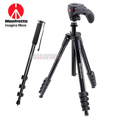 "Manfrotto TRIPOD MKCOMPACTACN-BK for NIKON With Pan Tilt head + 67"" Monopod"
