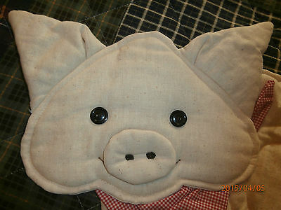 """Time To Pig Out! -- TABLE PLACEMAT, Sweet, Fat, Padded, Smiling Pig -- 23""""x16"""""""