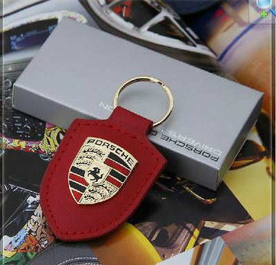 Porsche Design Key Chain Badge Logo Leather Key Ring Gold Crest Keychaing Red 4