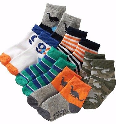 Old Navy Baby Boy Dinosaur Camouflage stripe colorful Non-Skid Crew Sock 6 pairs