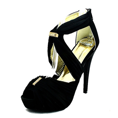 Ladies Chiffon rouched high heel wedding shoes with diamantes