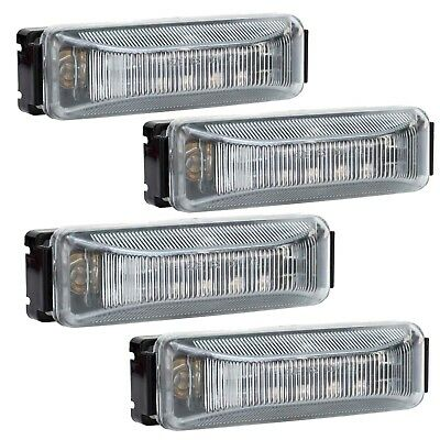 """4 Pack - LED 12 Diode Clear/Amber Marker Clearance Light 4""""x1"""" w/Black Base"""