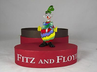 """Fitz And Floyd Collectible Glass Figurine """"boppy"""" The Clown New In Box"""