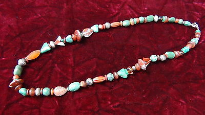Antique Chinese Tibetan Gemstones Jade & Silver Beads Necklace Late 19Th Century