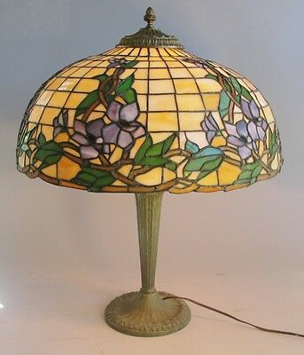 """Fine 20.5"""" Antique Art Nouveau Wisteria Stained Leaded Glass Lamp Shade  c. 1910"""