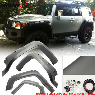 Toyota FJ Cruiser 07-13 POCKET Style Extended Fender Flare Smooth ABS Black