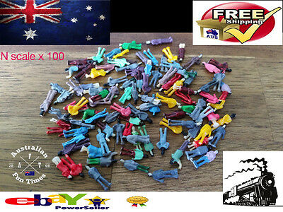 100 N Scale Model Train Figures Lot Of 100 Little People Painted Locomotive New